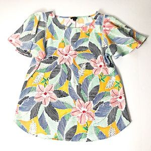 Ann Taylor Butterfly Sleeve Medium Floral Blouse